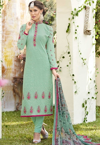 Sky Blue Georgette Pant Style Straight Suit - 380