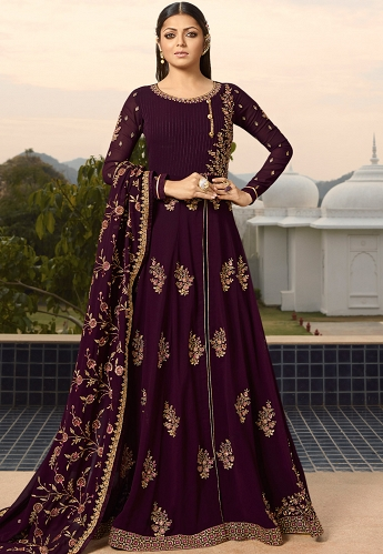 Drashti Dhami Purple Georgette Embroidered Floor Length Anarkali Suit - 3808