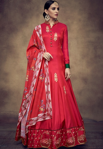 Red Tapeta And Satin Silk Embroidered Readymade Anarkali Gown - 39012