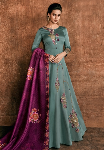 Grey Shade Rayon Long Embroidered Indowestern Anarkali Suit - 39036
