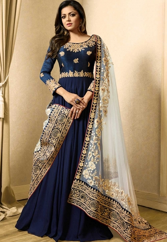 Drashti Dhami Royal Blue Georgette Long Gown Style Anarkali Suit - 3922