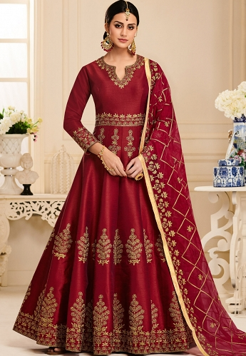 Maroon Silk Embroidered Long Anarkali Suit - 40001