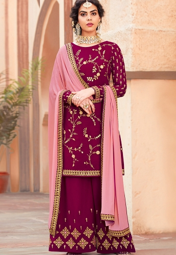 Magenta Georgette Embroidered Palazzo Style Pakistani Suit - 4001