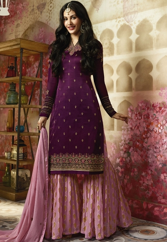 Purple Georgette Sharara Style Pakistani Suit - 4007