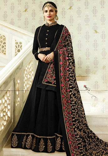 Prachi Desai Black Silk Floor Length Anarkali Suit - 4028