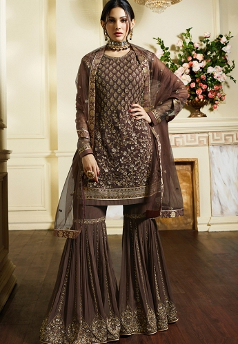 Brown Satin Georgette Embroidered Sharara Style Pakistani Suit - 4050