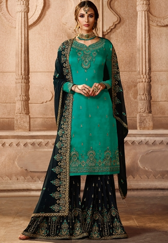 Turquoise Satin Georgette Embroidered Sharara Style Pakistani Suit - 46069