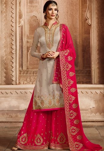 Grey Satin Georgette Embroidered Palazzo Style Pakistani Suit - 46072