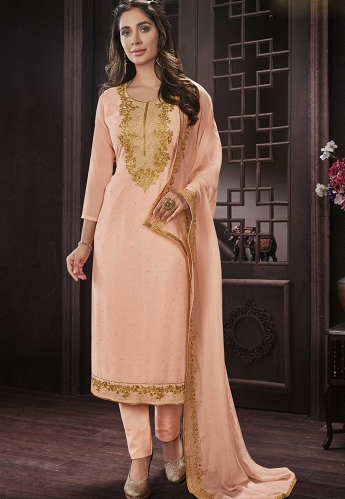 Peach Georgette Straight Trouser Style Suit - 418