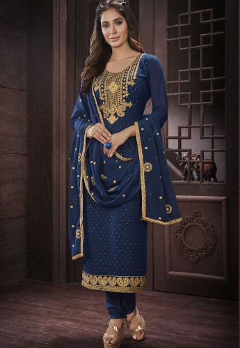 Navy Blue Georgette Straight Churidar Style Suit - 419