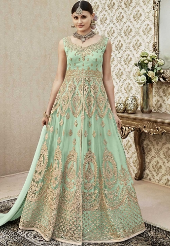 Cyan Net Floor Length Embroidered Anarkali Suit - 4408
