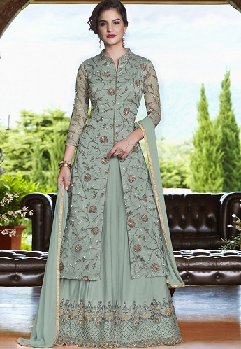 Grey Net Embroidered Lehenga Style Anarkali Suit - 4502