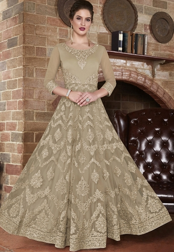 Beige Net Embroidered Long Anarkali Suit - 4503