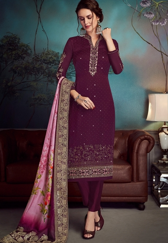 Purple Satin Georgette Straight Embroidered Trouser Suit - 4540