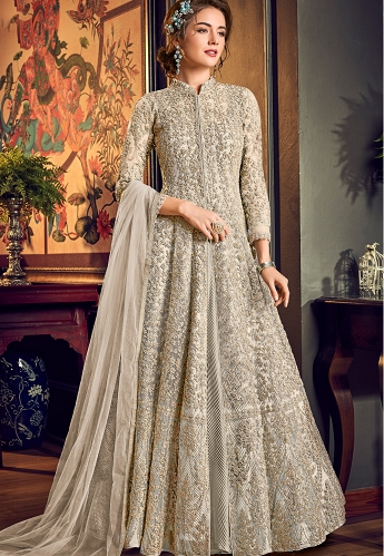 Off White Net Embroidered Wedding Anarkali Suit - 4554A
