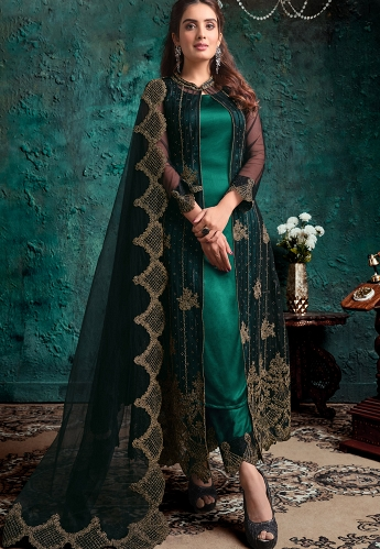 Green Net Embroidered jacket Style Straight Trouser Suit - 4631