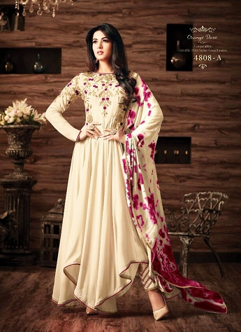 Sonal Chauhan Cream Georgette Pant Style Suit