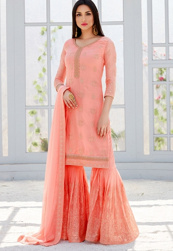 Light Pink Georgette Straight Sharara Style Suit - 495