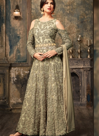 Sonal Chauhan Grey Net Ankle Length Anarkali Suit With Cold Shoulder Sleeves - 5106C