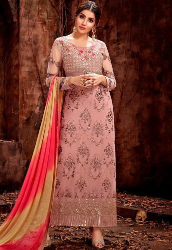 Slaty Pink Georgette Embroidered Trouser Style Pakistani Suit - 5123
