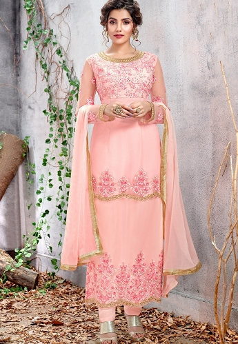 Pink Net Resham Embroidered Straight Trouser Suit - 5153