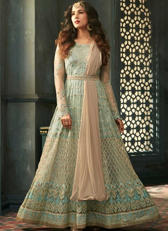 Sonal Chauhan Sky Blue Net Long Embroidered Anarkali Suit - 5303