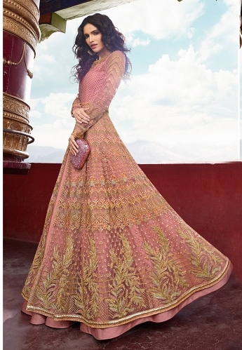 Pint Net Embroidered Floor Length Anarkali Suit - 5406