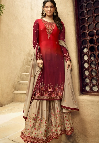 Red & Beige Satin Georgette Sharara Style Suit - 5406