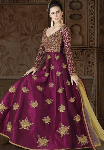 Wine Silk Embroidered Floor Length Designer Gown Style Suit - 5406A