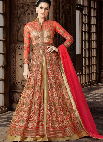 Peach & Golden Net Embroidered Floor Length Anarkali Suit