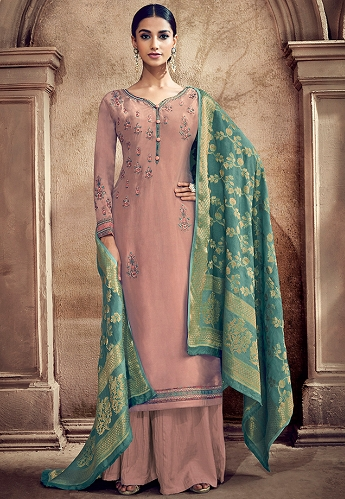 Mauve Cotton Silk Resham Embroidered Palazzo Style Suit - 55