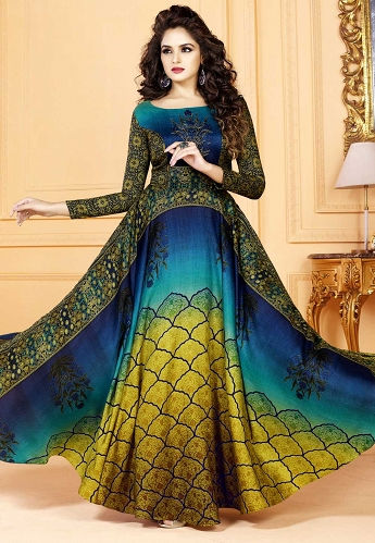 Peacock Color Tussar Silk Printed Readymade Gown - 5504