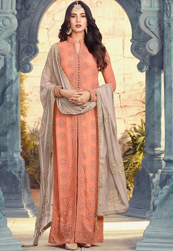Sonal Chauhan Peach Georgette Straight Cut Salwat Suit - 5506