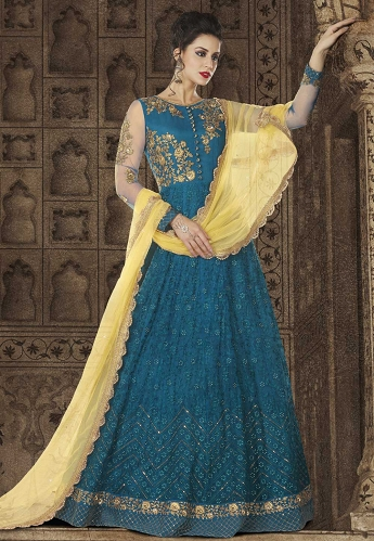 Blue Net Floor Length Embroidered Anarkali Suit - 5606