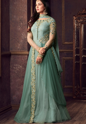 Sonal Chauhan Sky Blue Net Floor Length Gown Style Anarkali Suit - 5606