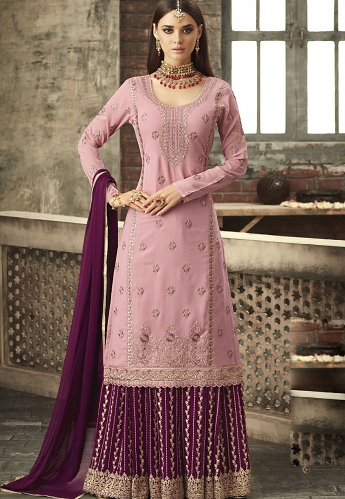 Pink & Purple Georgette Sharara Style Suit - 57001