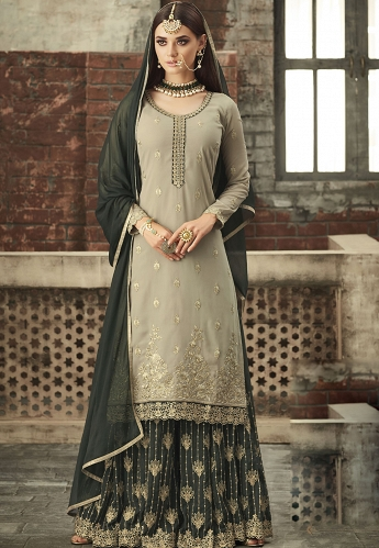 Grey Georgette Sharara Style Suit - 57005