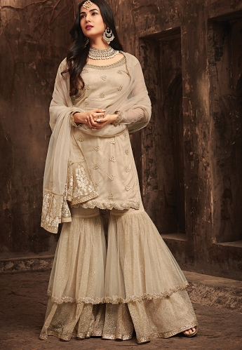 Sonal Chauhan Beige Net Sharara Style Suit - 5701