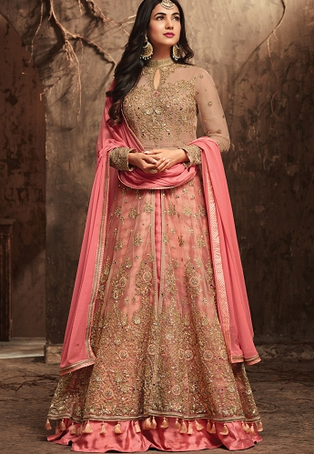 Sonal Chauhan Beige Net Center Slit Lehenga Style Anarkali Suit - 5704