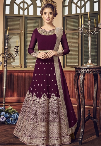 Purple Georgette Floor Length Designer Anarkali Suit - 5801F