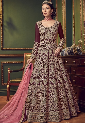 Wine Silk Embroidered Floor Length Anarkali Suit - 5902