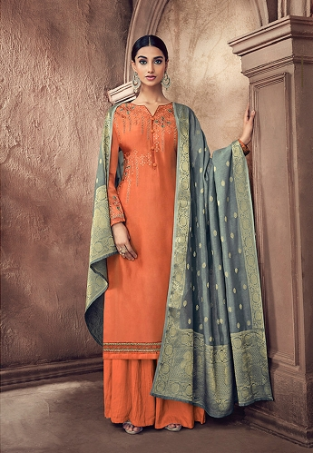 Orange Cotton Silk Resham Embroidered Palazzo Style Suit - 61
