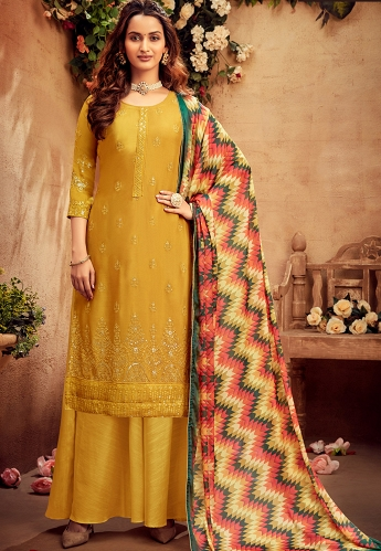 Mustard Chinnon Straight Embroidered Palazzo Suit - 6174