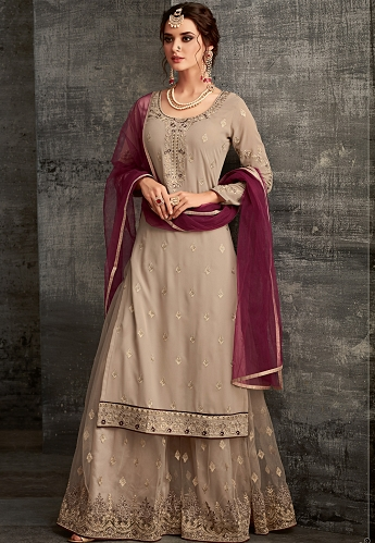 Grey Georgette Embroidered Palazzo Style Pakistani Suit - 62004