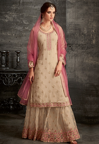 Beige Georgette Embroidered Palazzo Style Pakistani Suit - 62006