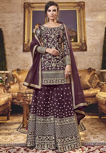 Purple Net Embroidered Heavy Palazzo Suit - 6303