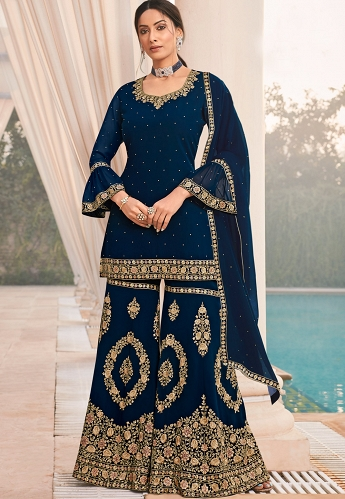 Blue Georgette Embroidered Sharara Suit - 64006