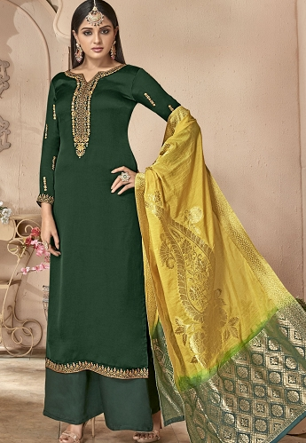 Green Satin Georgette Palazzo Style Suit - 6502