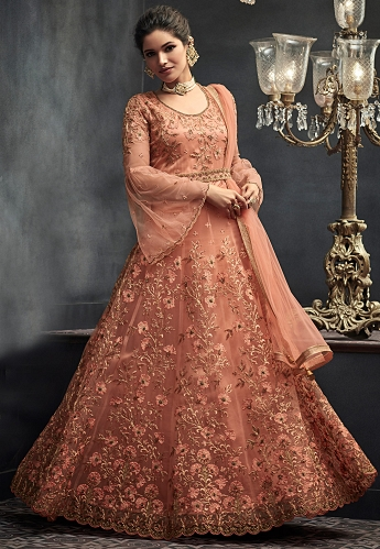 Peach Net Heavy Embroidery Long Anarkali Wedding Suit - 66004
