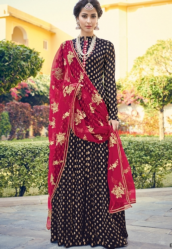 Navy Blue Viscose Jacquard Silk Long Pakistani Suit - 6803